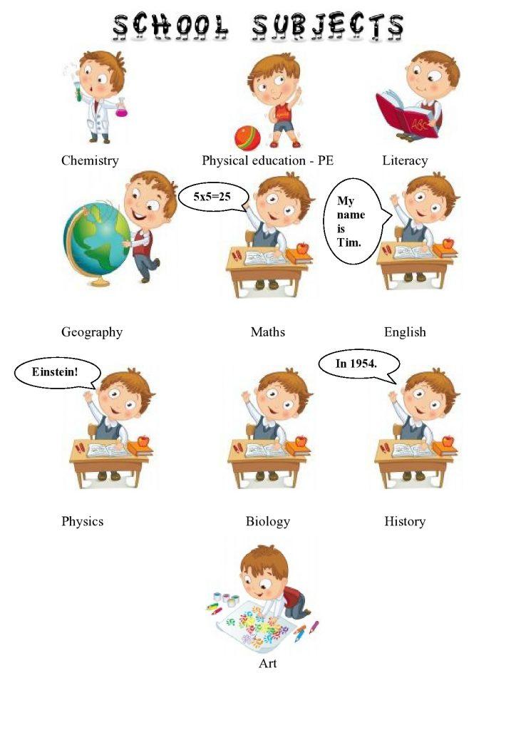 Schulfächer im Englischen