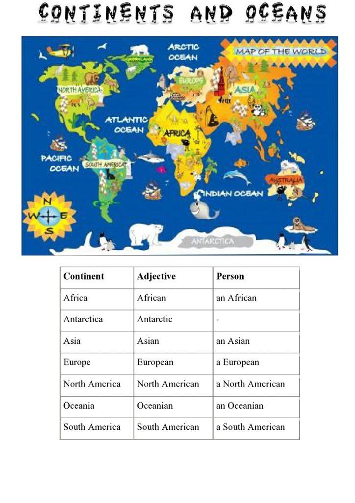 Kontinente im Englischen