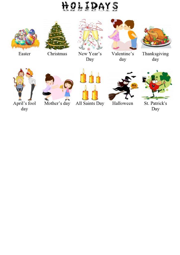 Feiertage im Englischen