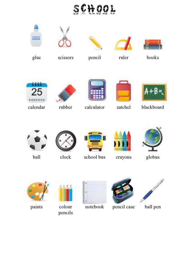 Gegenstände in der Schule im Englischen